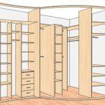 Какая оптимальная схема углового шкафа купе с размерами